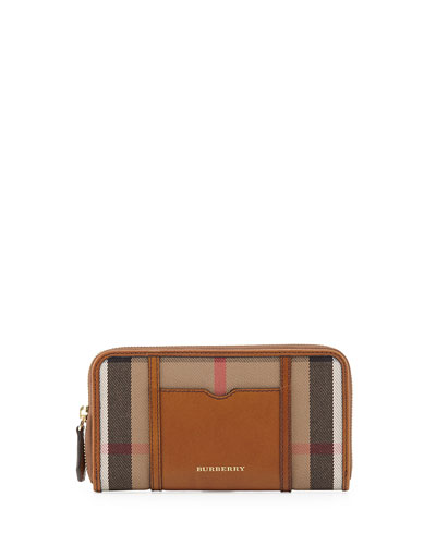Check Canvas Zip Wallet, Brown Ochre