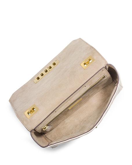 Vivian Quilted Leather Shoulder Bag, Vanilla