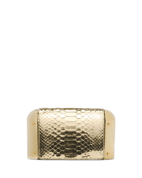 Leyla Python Dome Clutch Bag, Gold