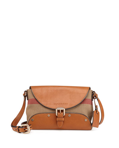 Burberry Brit Leather & Check Canvas Crossbody Bag, Saddle Brown