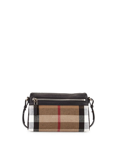 Burberry Brit Check Canvas Crossbody Bag, Black