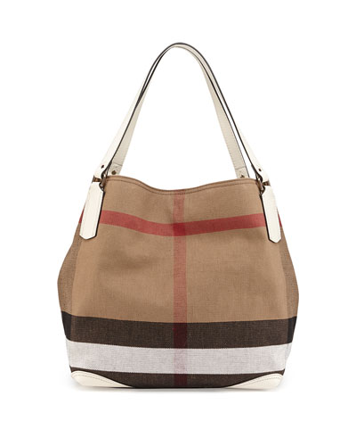 Burberry Brit Check Canvas Tote Bag, White