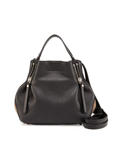 Burberry Brit Leather Small Zip Tote Bag, Black