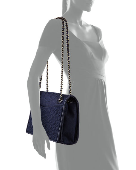 Fleming Quilted Denim Flap Bag, Indigo