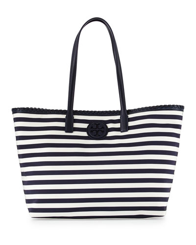 Tory Burch Marion Striped Nylon Tote Bag