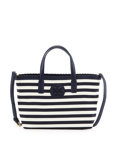 Tory Burch Marion Small Striped Nylon Tote Bag