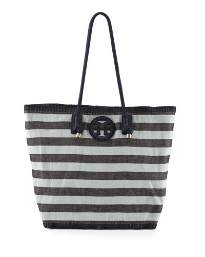 Tory Burch Oversized Stripe Canvas Tote Bag