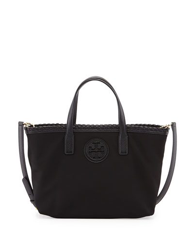 Tory Burch Marion Small Nylon Tote Bag with Strap, Black