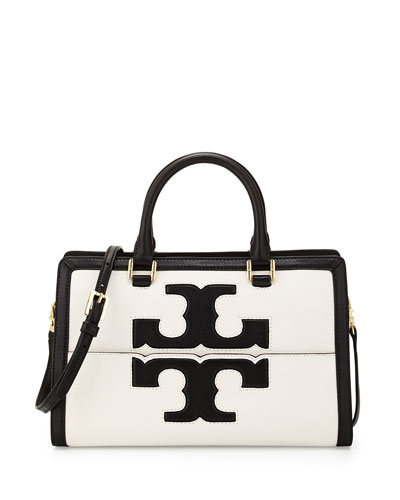 Tory Burch Jessica Leather Satchel Bag, Black/New Ivory