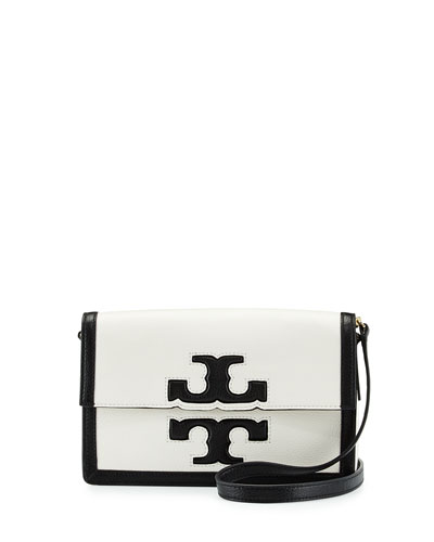 Tory Burch Jessica Leather Shoulder Bag, Black/New Ivory
