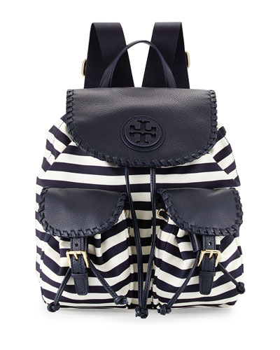 Tory Burch Marion Striped Nylon Backpack, Awning Stripe
