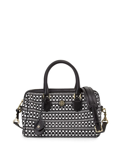 Tory Burch Robinson Woven Leather Satchel Bag, Black/White