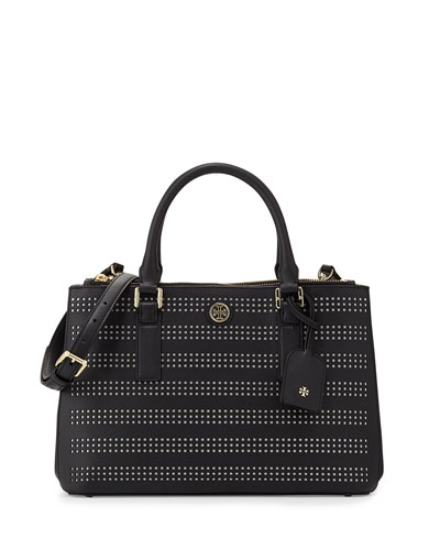 Tory Burch Robinson Perforated Double-Zip Tote Bag, Black/Birch