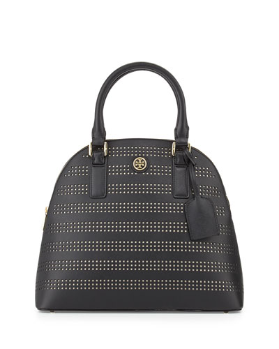 Tory Burch Robinson Perforated Dome Satchel Bag, Black/Birch