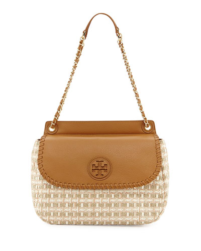 Tory Burch Marion Woven Straw Saddle Bag, Gold