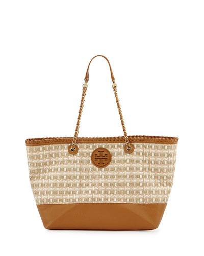 Tory Burch Marion Woven Straw Tote Bag, Gold