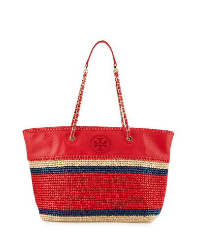 Tory Burch Marion Striped Straw Tote Bag, Ruby Jewel