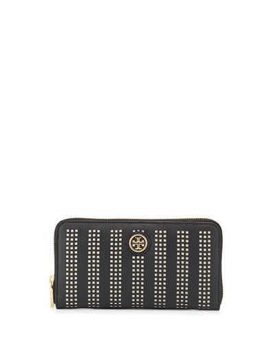 Tory Burch Robinson Perforated Continental Zip Wallet, Black/Birch