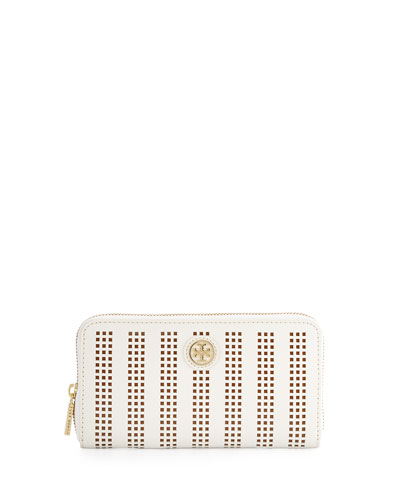 Tory Burch Robinson Perforated Continental Wallet, Birch/Passion Fruit