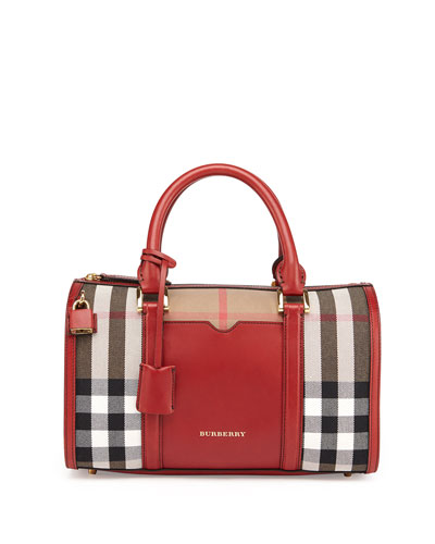 Burberry Check & Leather Medium Satchel Bag, Military Red