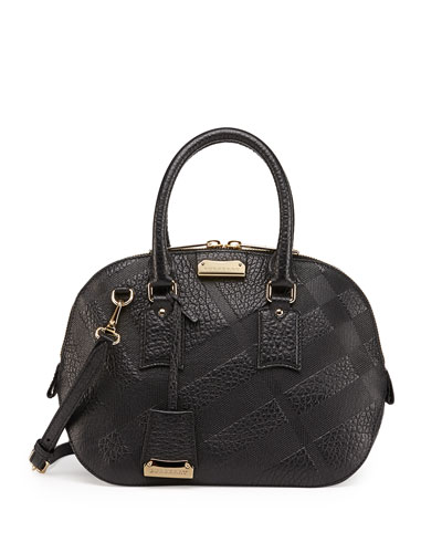Burberry Check-Embossed Leather Satchel Bag, Black