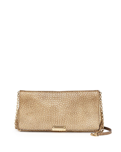 Burberry Metallic Pebbled Flap Crossbody Bag, Camel
