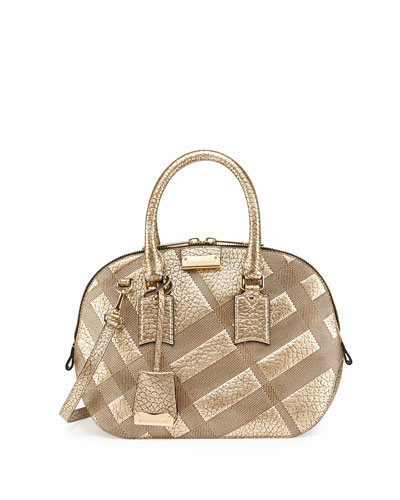 Burberry Check-Embossed Leather Satchel Bag, Gold