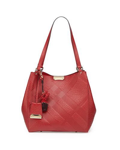 Burberry Check-Embossed Tassel Tote Bag, Military Red