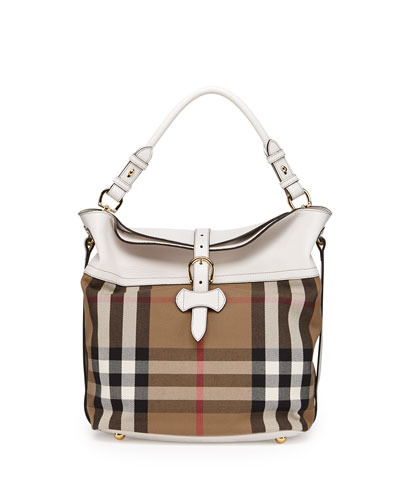 Burberry Leather & Check Canvas Shoulder Bag
