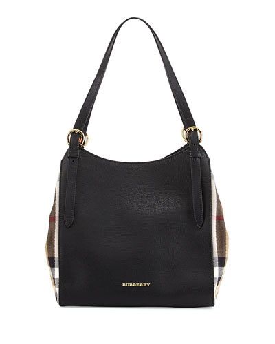 Burberry Leather Shoulder Tote Bag, Black