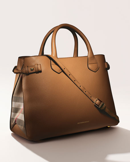 Leather & Check Canvas Tote Bag, Dark Sand