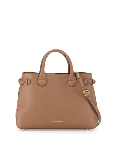 Burberry Leather & Check Canvas Tote Bag, Dark Sand