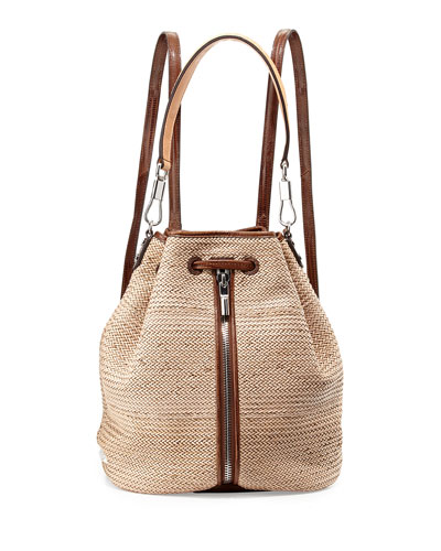 Elizabeth and James Cynnie Woven Drawstring Backpack, Natural