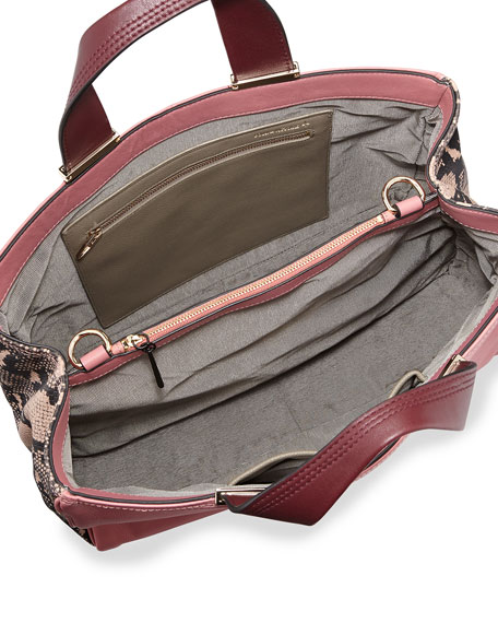 Inez Leather Carryall Tote Bag, Dusty Pink Multi