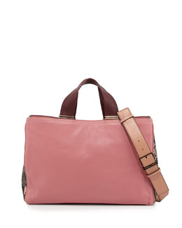 Pour la Victoire Inez Leather Carryall Tote Bag, Dusty Pink Multi