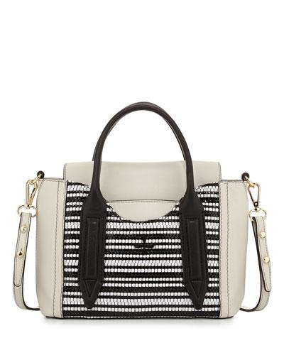 Pour la Victoire Provence Woven Mini Satchel Bag, Black/White
