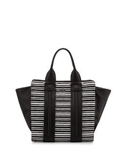 Pour la Victoire Two-Tone Woven Tote Bag, Black/White