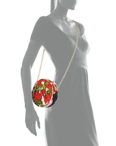 Glam Floral-Print Round Crossbody Bag