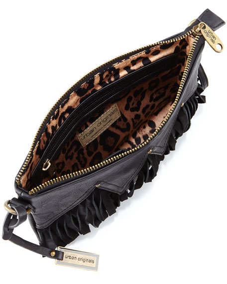 Faux Leather Fringe Wristlet Clutch Bag, Black