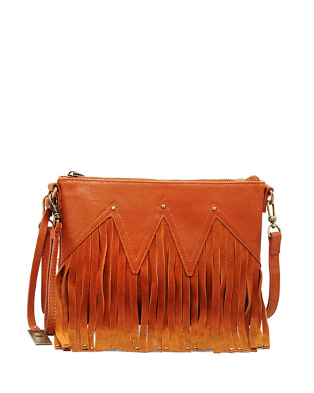 Faux Leather Fringe Wristlet Clutch Bag, Tan
