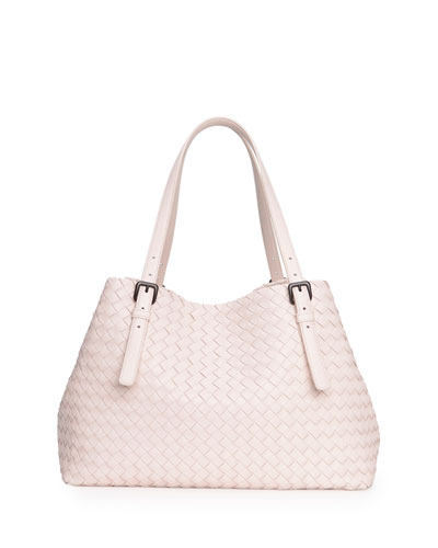 Bottega Veneta A-Shape Woven Tote Bag, Nude