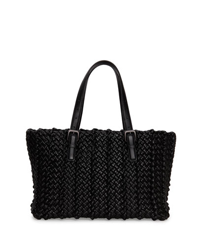 Bottega Veneta Lido Medium Woven Tote Bag, Black