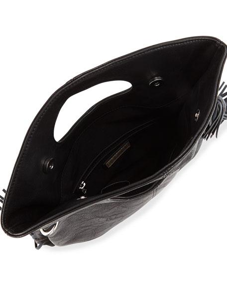 Style Icon Fringe-Trimmed Shoulder Bag, Black