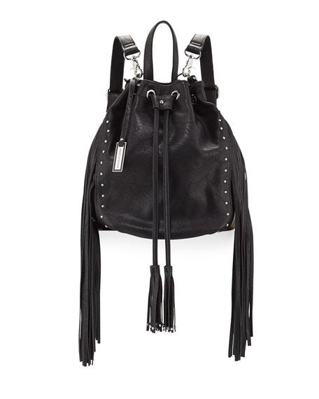 Forbidden Fringe Bucket Backpack, Black