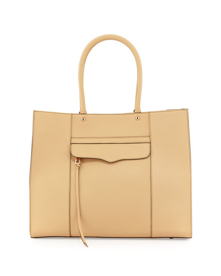 Faux-Saffiano MAB Tote Bag, Biscuit