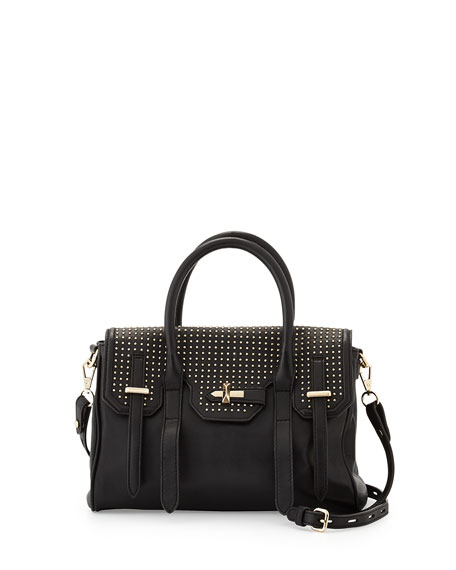 Jules Studded Mini Satchel Bag, Black