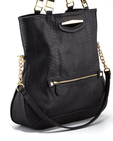 Peyton Snake-Embossed Tote Bag, Black