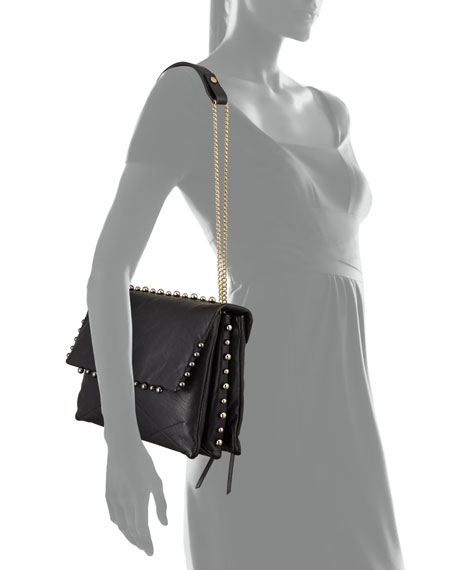 Lanvin Sugar Studded Shoulder Bag, Black