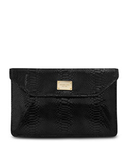 "MICHAEL Michael Kors  Slim 11"" Laptop Sleeve, Black Python-Embossed Leather"