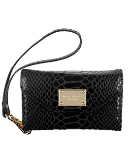 MICHAEL Michael Kors  Phone Wristlet, Black Patent Python-Embossed Leather